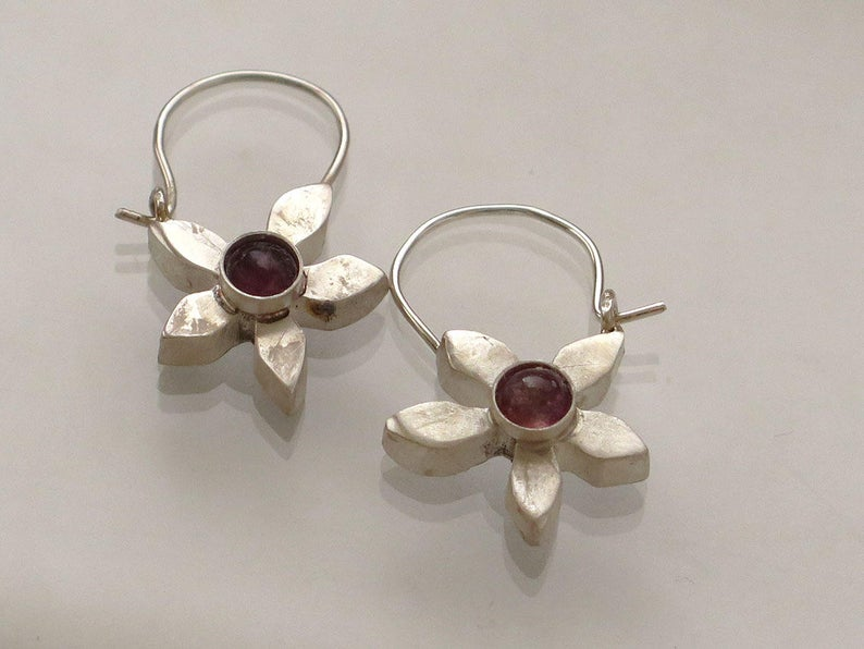 Demure Silver Flower and Garnet Hoops