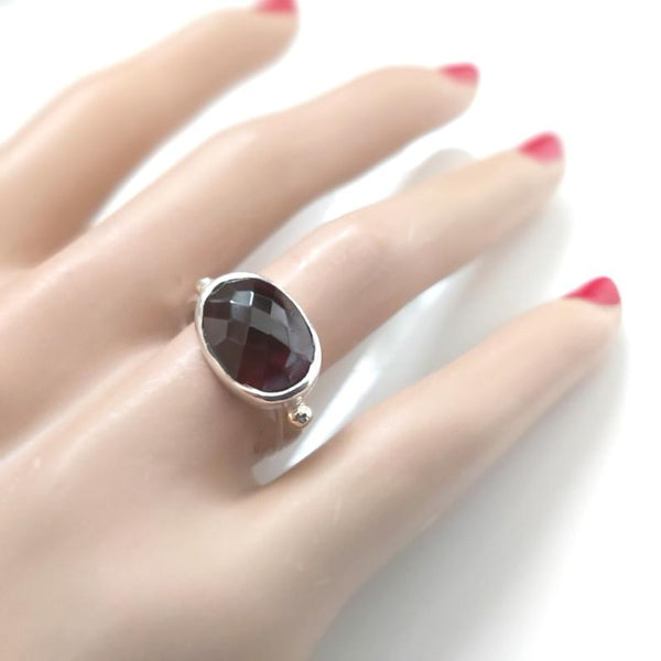 Silver Gold Oval Garnet Ring