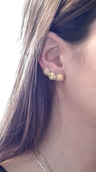 Gold Crawler Pin Earrings