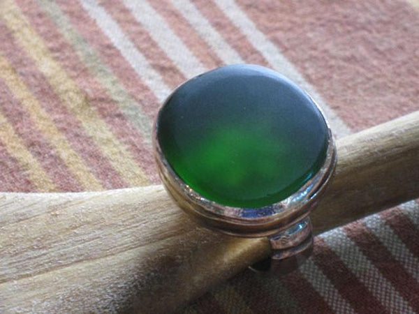 Large Silver Sea Glass Oval Green Ring