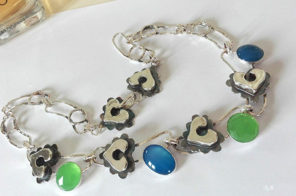 Sterling Silver Heart and stones Necklace