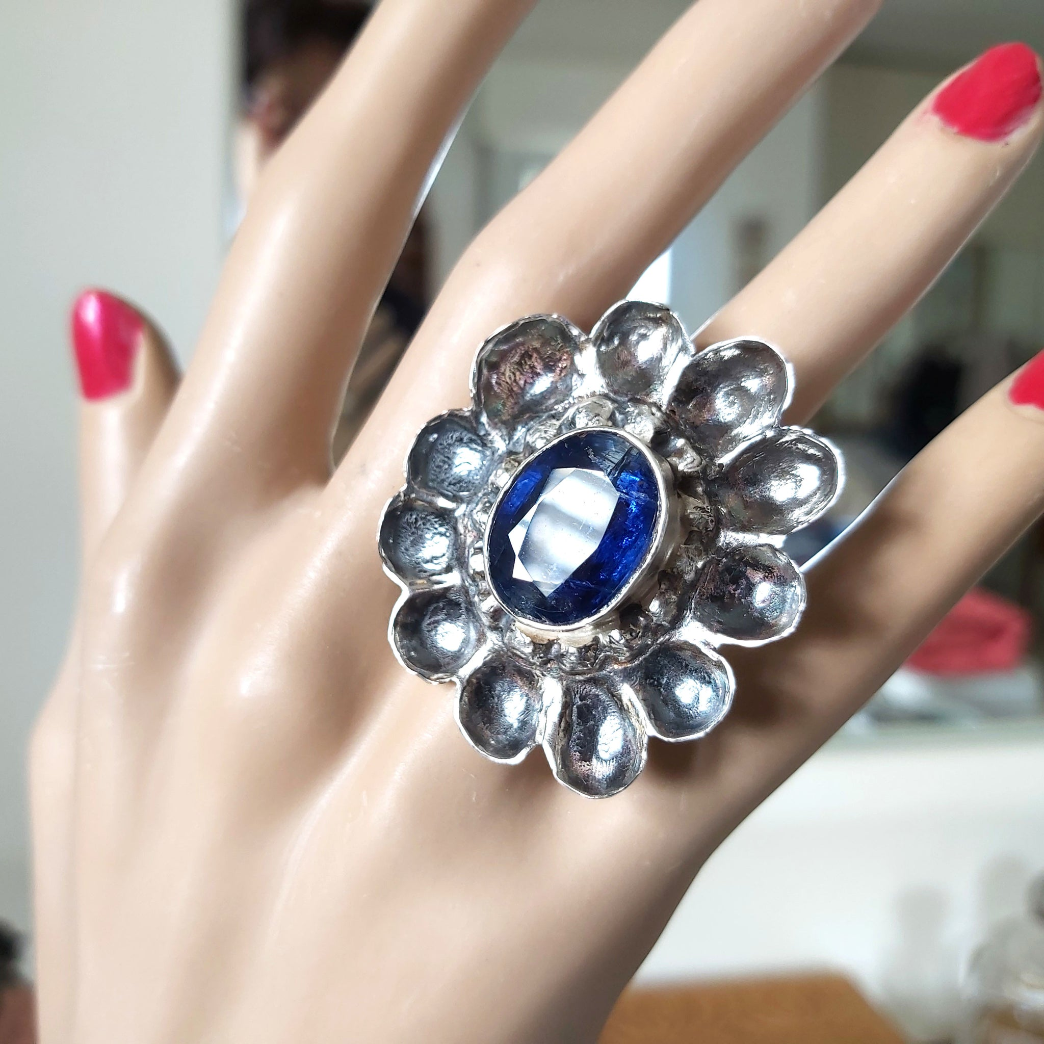 Large Sterling Flower Ring and Faceted Blue Kyanite