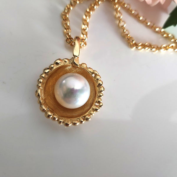 Gold Pearl Pendant Chain Necklace
