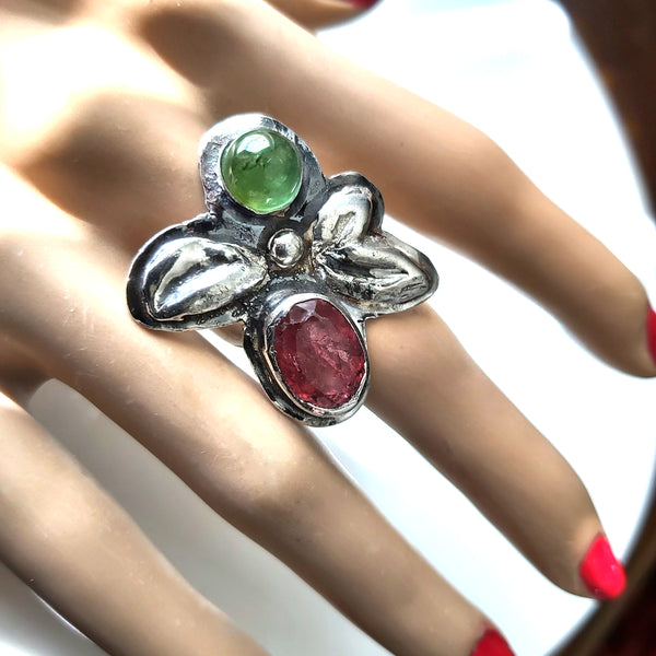 Tourmaline Two Stone Sterling Ring