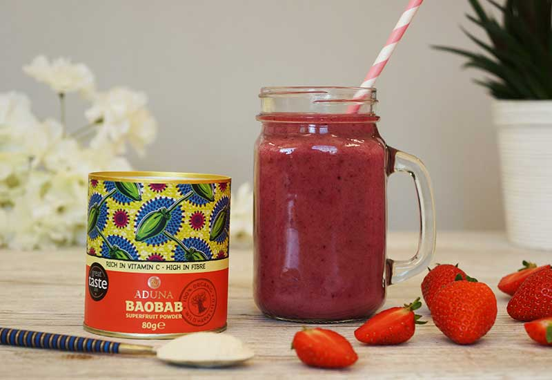 Aduna Baobab Fruit Powder and smoothie