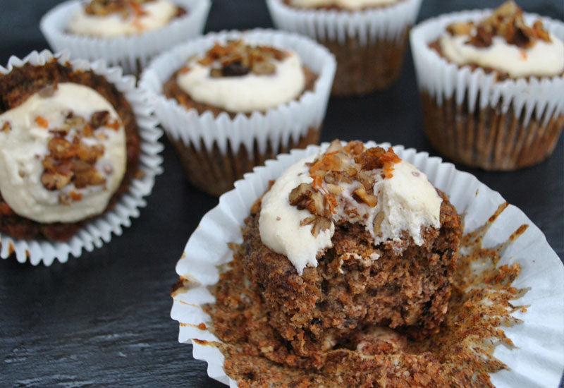 Baobab Carrot Persimmon Cupcakes with Orange Cashew Cream Frosting