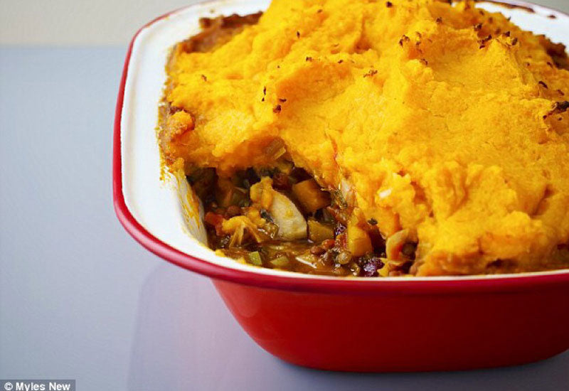 Baked lentil & bean cottage pie with a potato & parsnip mash top