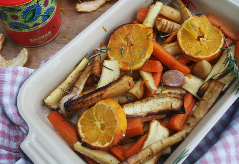 Baobab, Orange and Maple-roasted Carrots and Parsnips