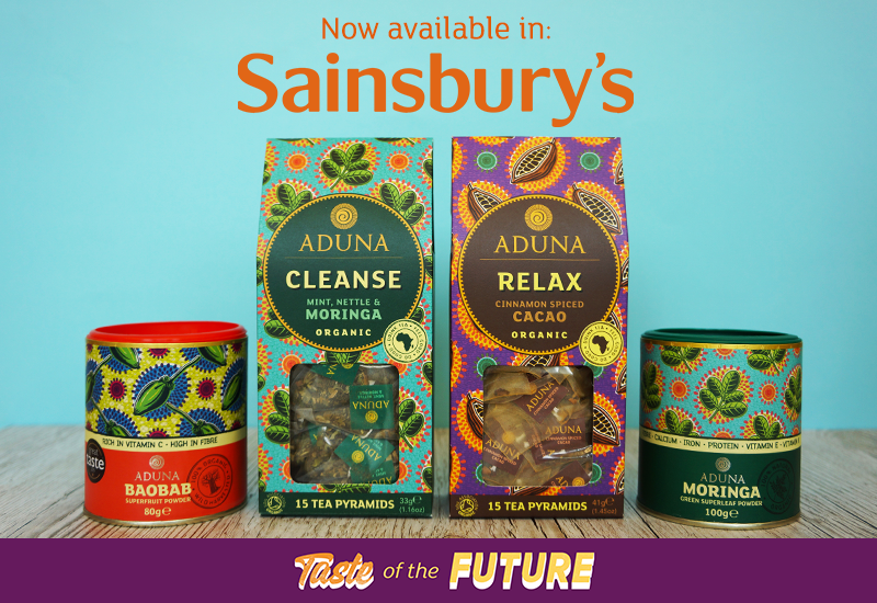Aduna now available in selected Sainsbury's - Taste of the Future section