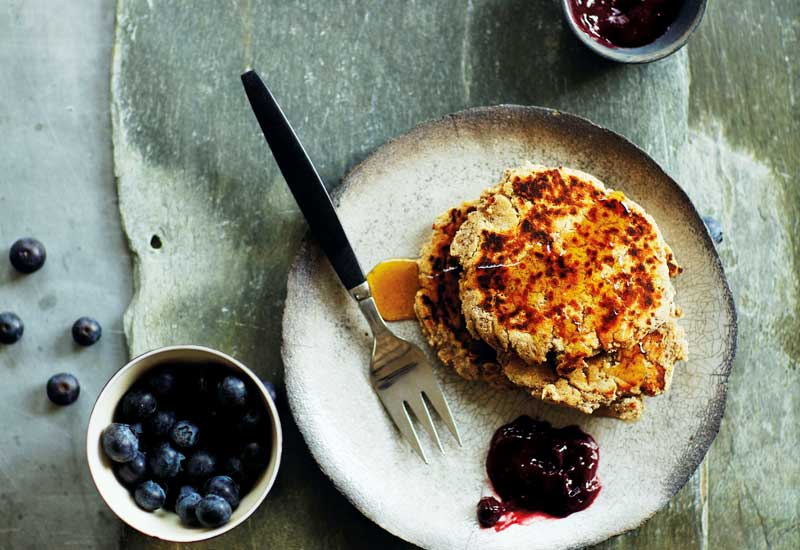 Chia & Coconut Pancakes with Baobab Blueberry Sauce