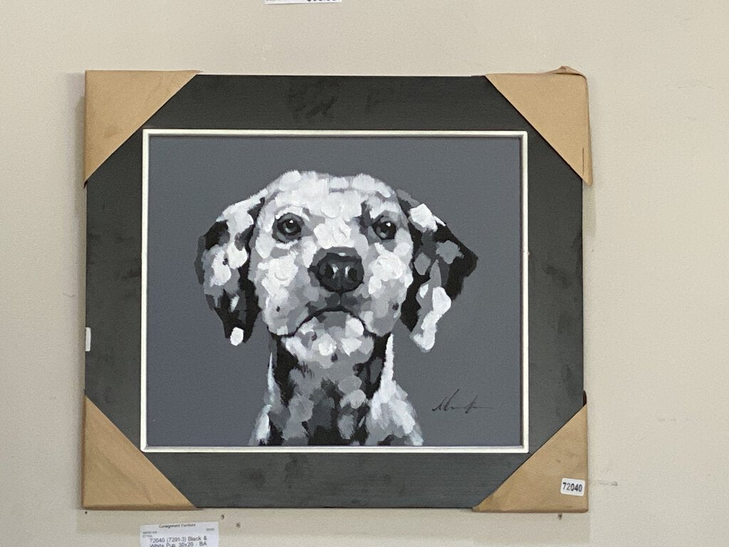 72040 (7291-3) 30x26 Framed Painting - Black & White Pup