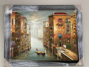 72027 (7289-5) 56x44 Framed Painting - Venice Canal
