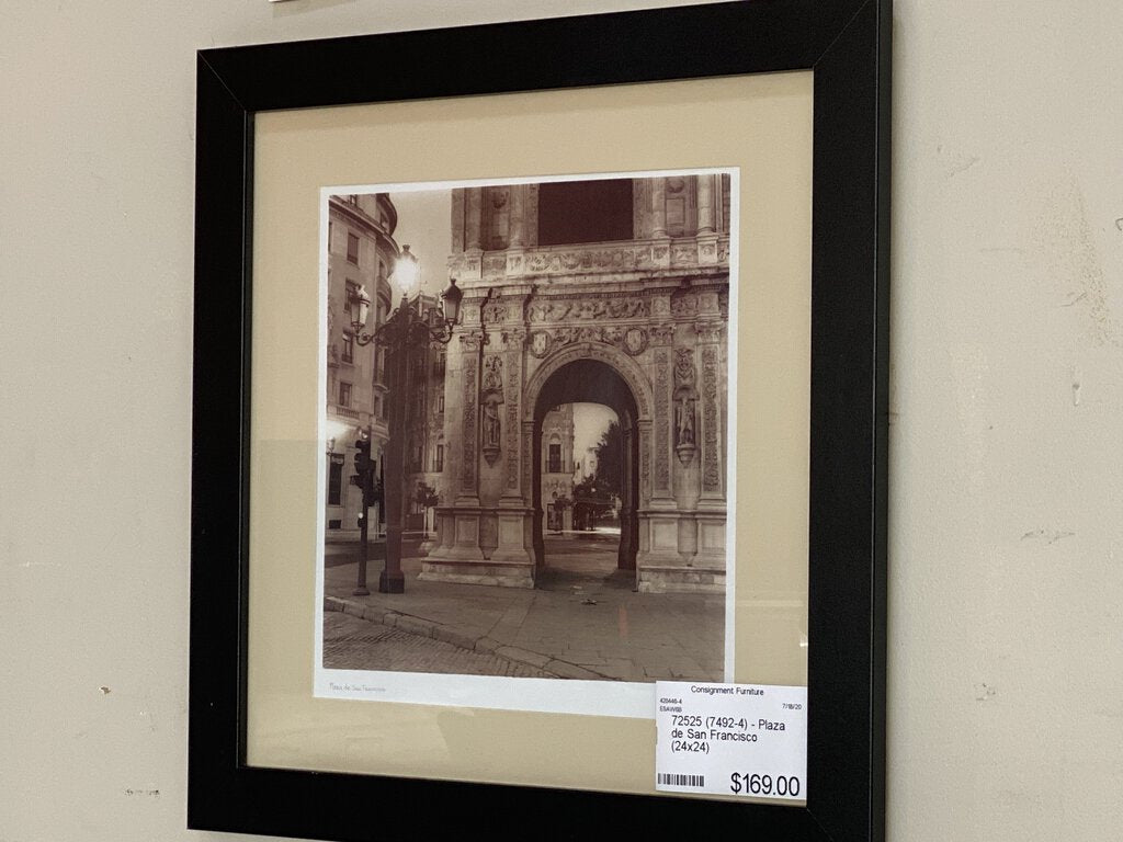 72525 (7492-4) 24x24 Framed Arwork - Plaza de San Francisco - REDUCED