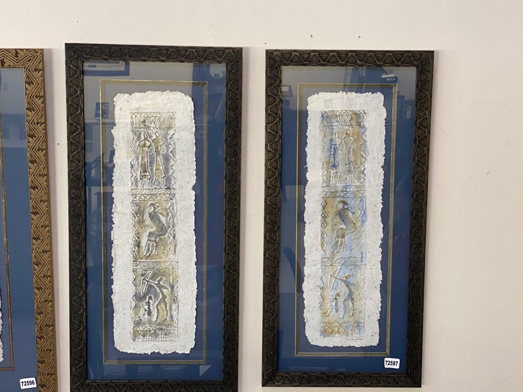 72597 (7500-7) Framed Pair of Sheila Cooper Hand Made Paper Designs 16x34 REDUCED
