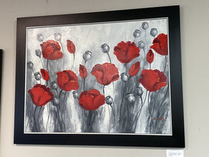 72540(7493-8) 5644 Framed Painting - Red Flowers