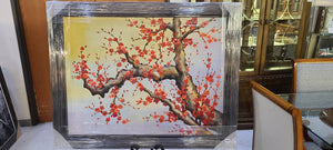 72950 (7578-12) 56x44 Framed Painting, Red Flowers