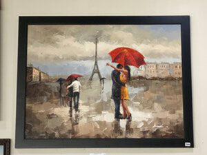 72008 (7289-1) 56x44 Framed Painting - Couples in Paris