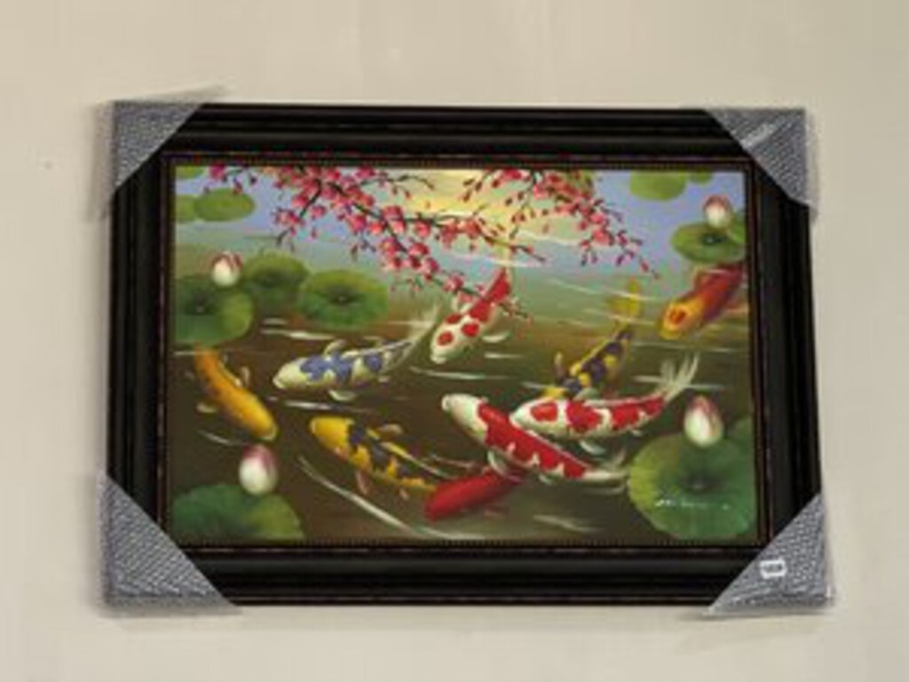 72539 (7493-7) 44x32 Framed Painting - Koi Pond/Cherry Blossoms