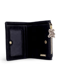All black velvet leather monogram wallet