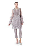 Embroidered Tunic with neck yoke frills