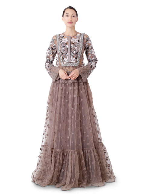 Long tunic with patchwork embroidery and lightly embellished neckline