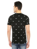 Solid Round Neck TShirt With Allover Print