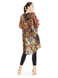 Featuring a multi-colored tunic in raw silk base with golden button detailing and digital printed floral motifs.