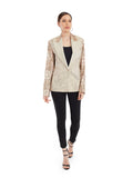 Printed earthy beige cotton jacket on metallic fabric