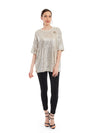 Sequin T-shirt with broach detailing