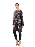 Crepe silk digital printed tunic with hand embroidered detailing