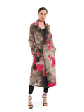 Trench style jacket in cotton and mull featuring digital printed vibrant bougainvillea motifs