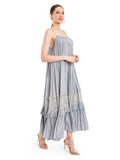 Define your style with these lace detailing tiered hem. This crepe silk pleated dress is elegant, relaxed and glamourous.