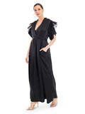 Featuring this black dress with frill shoulders, V-neckline and side pockets. The details are everything in this dress.