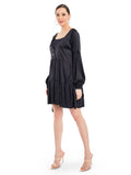 Black satin gathered dress features a relaxed silhouette with a plunging neckline, balloon sleeves and tiered hem. Don't miss out on the side pockets.