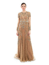 Rocky Star Featuring A Beige Full Sleeves Gown In Net Base Pearl Hand Embroidery & Sheer Panels