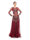 Rocky Star Glitzy & Glamorous This Maroon Net Gown is Enhanced With Pearl Hand Embroidery & Sheer Panel