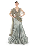 Rocky Star Grey Hand Embroidered Indo-Western Gown With Attached Dupatta