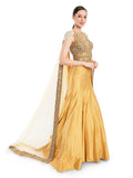 Rocky Star Yellow Hand Embroidered Mermaid Gown With Attached Dupatta