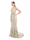Rocky Star Hand Ivory Hand Embroidered Long Gown