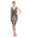 Rocky Star Digital Print Embroidered Fitted Dress