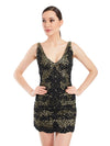 Rocky Star Gold Sequence Cord Embroidered Short Dress