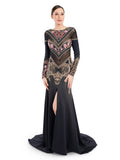 Rocky Star Digital Printed And Embroidered Gown with A Slit