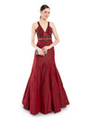 Rocky Star Featuring A Maroon Sleeveless Mermaid Style Gown In Silk Taffeta & Net Base With Hand Embroidery & V-Neck