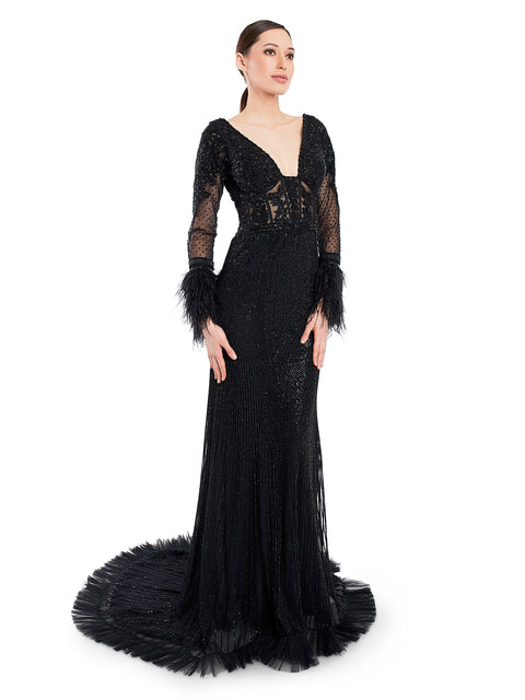 Rocky Star Beaded Embroidered Gown With Feather Detailing
