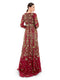Rocky Star Featuring A Red Full Sleeves Gown In Georgette Base Floral Hand Embroidery, Empire Waist & Plunging Neckline
