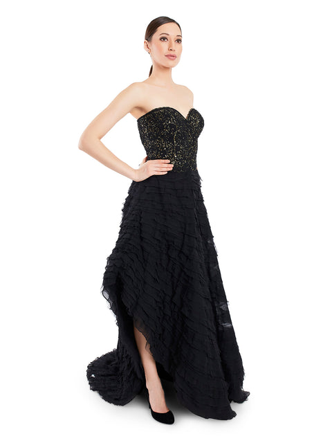 Rocky Star Gold Sequin Embroidered Gown with Frill Detailing