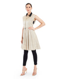 Textured ivory jacket with delicate lace detailing and contrast coloured collar.