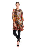 Featuring a multicolored tunic in raw silk base with golden button detailing and digital print of floral motifs