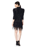 Sequin dress with Puff sleeves and feather at the hem