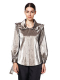 This tunic will highlight your style with its metallic sheen, frill shoulders and bow tie detailing near the cuff.